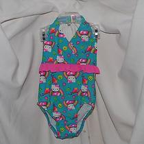 Hello Kitty 1 Piece Bathing Suit Size 3t Bright Colors Kite-Frog-Rainbow Twins Photo