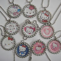Hello Kitty 10 Necklaces Party Favors Gift Ball Chain  Flattend Bottle Cap Photo