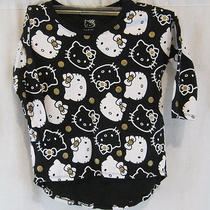 Hello Kitty Black and White Print Girls Shirt Size Medium Free Ship (1g-0130) Photo