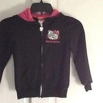 Hello Kitty Black Zip Front Cotton Blend Hoodie Size 6x Photo