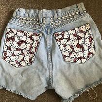 Hello Kitty Blue Denim Shorts Hot Pants Size 8 Handmade Studs Sanrio Photo