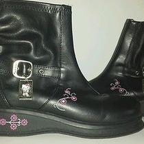Hello Kitty Boots Zipper Size 2 New Flowers Sanrio Buckle Black Faux Leather Photo