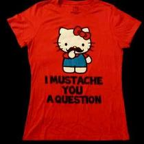 Hello Kitty by Doe Sanrio Graphic Youth T-Shirt I Mustache You a Question Euc Photo