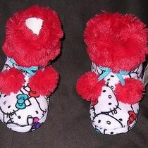 Hello Kitty by Sanrio Girls Boot Slippers 11 12 Rubber Sole Pom Poms House Shoe Photo