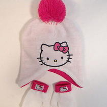 Hello Kitty by Sanrio White Knit Winter Hat & Mitten Set Toddler One Size Nwt Photo