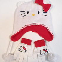 Hello Kitty by Sanrio White Knit Winter Hat & Stretch Gloves Youth Girls Nwt Photo