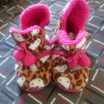 Hello Kitty  by Sanrio Womend  Plush Lined Boot Slippers White/pink Large 9/10  Photo