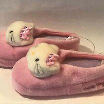 Hello Kitty Cat Girls Pink Slippers Plush House Shoes 2/3 Licensed San Rio Nwt Photo