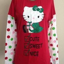 Hello Kitty Christmas Shirt Red Green Long Sleeve Polka Dot Glitter Xl15/17  New Photo