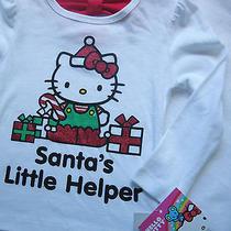 Hello Kitty Christmas White T Shirt Sz 3t Santa's Little Helper Long Sleeves Nwt Photo