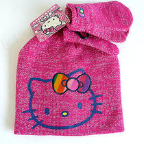 Hello Kitty Cold Weather Set Pink Silver Beanie Knit Hat Mittens Nwt Child Ofsm Photo