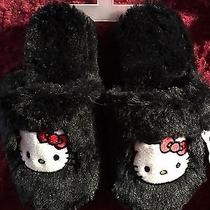 Hello Kitty Girls  Black Furry Slippers Sz 13-1 Photo