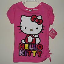 Hello Kitty Girls Cotton Shirt Size 6 Pink Short Sleeves Nwt Photo