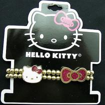 Hello Kitty Girls Fashion Bracelet Gold Beaded With White Kitty and Pink Bow Photo