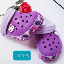 Hello Kitty Girls Faux Fur Crocs Sandals Size 8/9 Purple Pink Slingbacks Clogs Photo