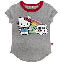 Hello Kitty Girls' Graphic Tee - Gray With Red Ringer Collar Girls Xs 4/5 Bnwt Photo