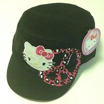 Hello Kitty Girls Hat Black Cadet Peace Sign Pink Glitter Leopard Brand New Photo