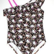 Hello Kitty Girls Lined Swimwear Brown/black Print Swimsuit One Piece Size 7/8 Photo