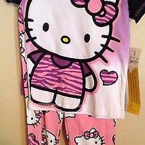 Hello Kitty Girls Pajamas 3pc Set Short Pants & Shirt Cotton Pink Purple Sz4 Nwt Photo