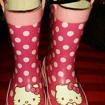 Hello Kitty Girls Rubber Rain Boots Sz  Xs 5-6 Pink Dots  Photo