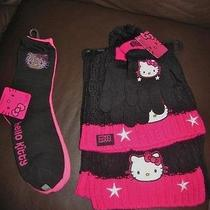 Hello Kitty Girls Set of Black Knit Scarf Mittens & Winter Hat With Socks  New Photo