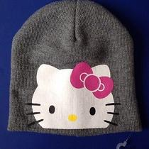 Hello Kitty Hat Girls One Size Gray Pink Graphic Knit Winter Beanie Sanrio Photo