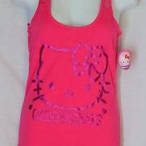 Hello Kitty Hot Pink Lace Sleeve Tank Top Juniors Size S 3/5 Photo