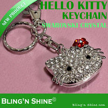Hello Kitty Keychain Necklace Swarovski Crystal Keyring Pendant Charm Red Pink Photo