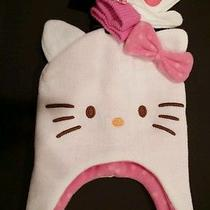 Hello Kitty Knit Trapper Hat & Mitten Set-Girls Osfm New Photo