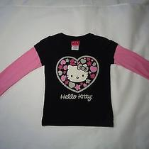 Hello Kitty Long Sleeve Black and Pink Top Girls Size 5 Photo