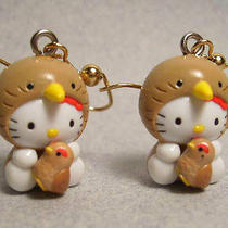 Hello Kitty Mother Sparrow Holds Baby Chick Earrings Bird Cat 3-D Charms Kawaii Photo