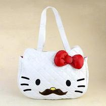 Hello Kitty Mustache Soft Leather-Like Hand Carry Shoulder Bag White 5025ws Photo