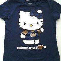 Hello Kitty Notre Dame Fighting Irish Love T-Shirt Navy Blue Girls Sz 8 Euc Photo