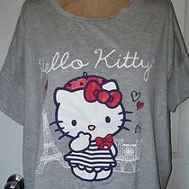 Hello Kitty Paris Shirt Top Sanrio Anime Eiffel Tower Grey Ss Sz Large L Photo