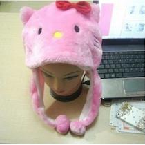 Hello Kitty Pink Hat With Red Bow Plush Furry Animal Children Hat Photo