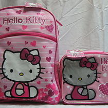 Hello Kitty Pink Heart Backpack & Lunch Box Set Lot Brand New Girls Book Bag Photo