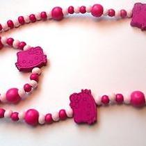 Hello Kitty  Pink Wood Bead Stretch Bracelet Necklace Girls Gift Photo