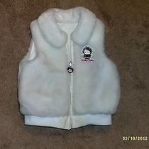 Hello Kitty Reversible Ivory Zip Up Vest Fur on One Side Vinyl on Other Sz. 8 Photo