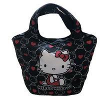 Hello Kitty Sanrio Black Red Bag Tote Hearts Cushioned Purse Medium Photo