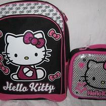 Hello Kitty School Backpack & Lunch Kit Box Bag Tote Glitter Sparkle Pink Set  Photo