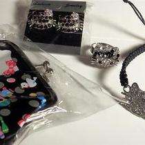 Hello Kitty Set Coin Purse Bracelet Crystal Rhinestone Ring  Earrings in Black Photo