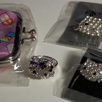 Hello Kitty Set Coin Purse Pin Crystal Rhinestone Ring Earrings Purple Clear Photo