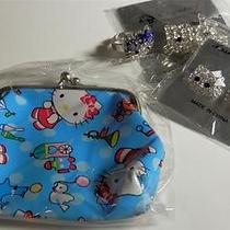 Hello Kitty Set Coin Purse Pin Crystal Rhinestone Ring Earrings White Blue Photo