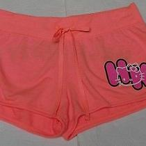 Hello Kitty Shorts Juniors Small Coral Pink Lounge Gym Athletic New S  Photo