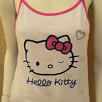 Hello Kitty Sleepwear by Sanrio Tank Top Womens/jrs L Pink Peek-a-Boo Bow Ties Photo
