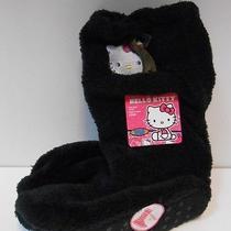 Hello Kitty Slouch Slipper Socks 7.5-3.5 Nwt Black Super Comfy & Cute 1 Pair Photo