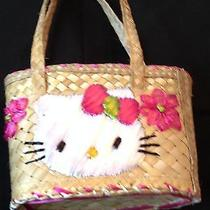 Hello Kitty Straw Purse Gently Used Pink and White With Pink Lining Photo