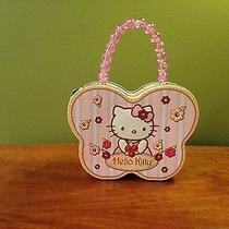 Hello Kitty Tin Box Purse Pink Glitter Beaded Handle Euc  Photo