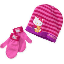 Hello Kitty Toddler Girls Hat and Mittens One Size Photo