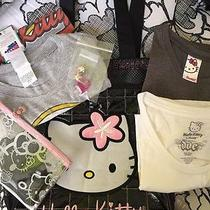 Hello Kitty Tote Bag Purse 3 T Shirts & Make Out Bag- Ring & Earrings New & Used Photo